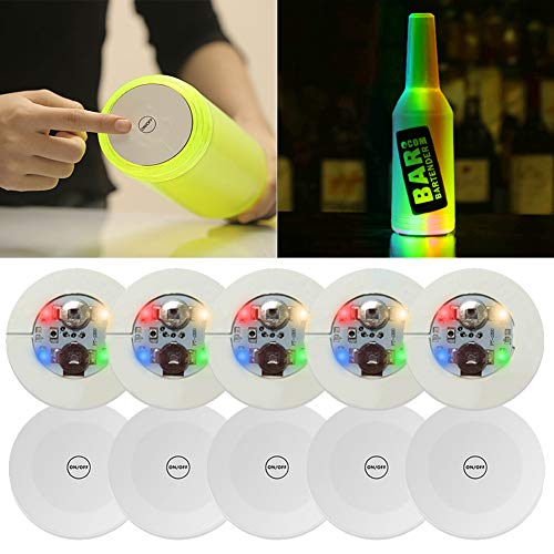 10Pcs LED Bar Coaster,LED Stickers,Light Up Bar Coasters For Drinks,Cup Holder Lights For Wine Liquor Bottle,Perfect For Party,Wedding,Bar (Colourful)