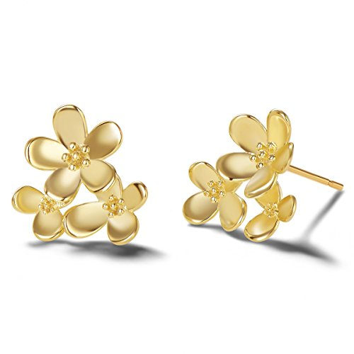 Carleen 14k Yellow Gold Plated 925 Sterling Silver Dainty Statement Daisy Floral Flower Earrings Delicate Fine Jewelry Stud Earrings for Women - Floral Daisy Earrings