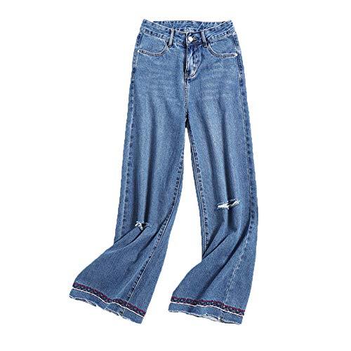 Ademi Le Signore Donna Dritti Per Comodo Jeans Casuale Pantaloni Denim Blue Vita Regular q61Tzpqw