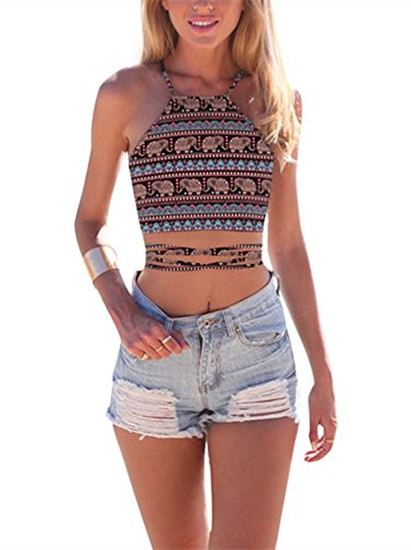 JomeDesign Women's Summer Halter Cross Hollow Boho Bandage Tank Camis Crop Top Vest, Spaghetti Elephant, One Size