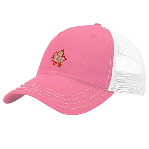 Sugar Pink Hat - Speedy Pros Sugar House Farm Embroidery Unisex Adult Snaps Cotton Richardson Front and Mesh Back Cap Hat - Pink/White