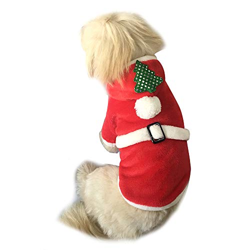 (Dog Cold Weather Coats Christmas Tree Pet Dog Clothes Santa Doggy Costumes Pet Apparel)