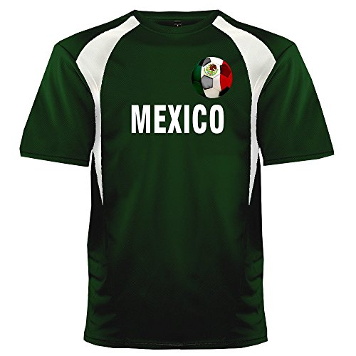 (Custom Mexico Soccer Ball 1 Jersey Adult 3X-Large in Dark Green and White)