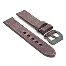StrapsCo Extra Long 22mm Dark Brown Thick Distressed Vintage Leather Watch Band w/ Black Pre-V Buckle