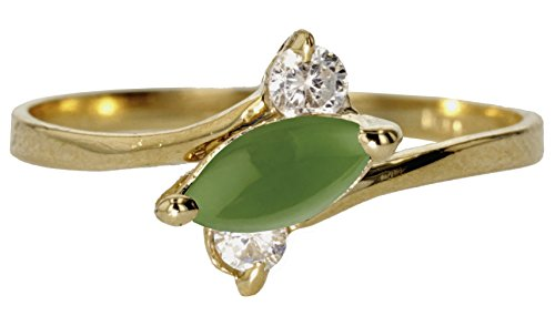 Gold And Emerald Cabochon Ring (10k Yellow Gold Round Cabochon Natural Genuine Green Emerald Sideways Marquise Simple Vintage Band Ring Size 10.5)