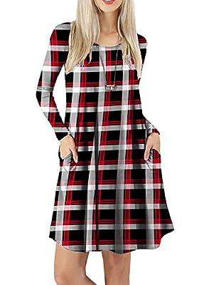 Twinklady Women's T-Shirt Dress for Leggings Plaid Swing Tunic Dress with Pockets