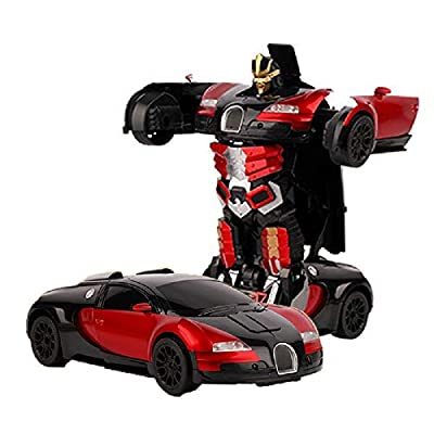 Zhenyu Luxury Sports Car Models Deformation Robot Transformation Remote Control RC Car Toys for Kids (Red): Toys & Games