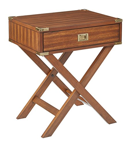 Office Star Wellington Solid Wood Side Table with Storage Drawer, Toasted Wheat For Sale