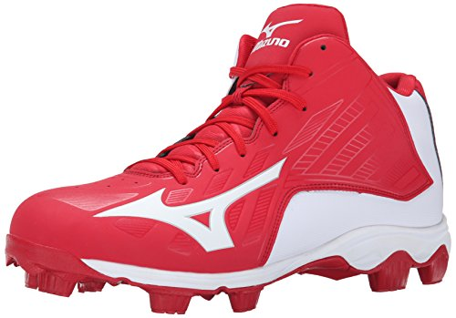 Mizuno Men's 9 Spike ADV FRHSE 8 Mid Baseball Cleat, Red/White, 12 M (All Red Baseball Cleats)