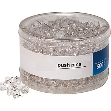 1InTheOffice Push Pins, Clear, 500 Pieces (Clear)