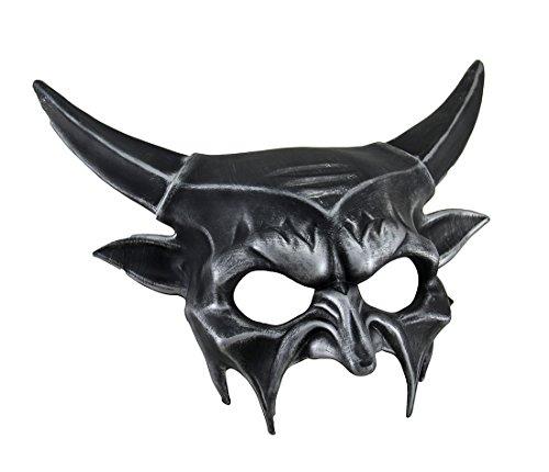 Metallic Half Face Demon Mask Silver -
