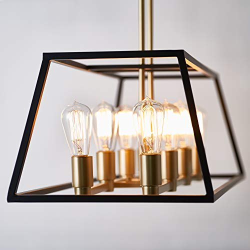 Artika CAR36-ON Rectangular 8 Pendant Light Fixture, Kitchen Island Chandelier, with a Steel Black and Gold Finish, Age Brass by Artika (Image #3)
