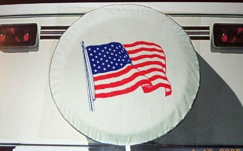 USA Flag Spare Vinyl Tire Cover for 34' Diameter Tire for 34' Diameter Tires Fits most 19.5' Tires for Tr5uck, RV