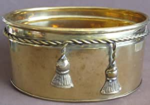 Classic Collection SOLID BRASS Oval PLANTER w ROPE & TASSEL Design (1999)