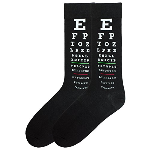 K. Bell Men's Fun Occupational Novelty Crew Socks, Eye Doctor (Black), Shoe Size: 6-12 from K. Bell Socks