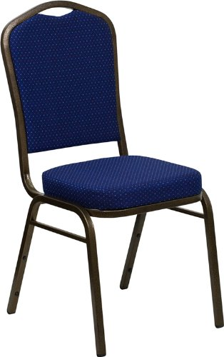 Emma + Oliver Crown Back Banquet Chair, Navy Blue Pattern Fabric/Gold Vein Frame ()