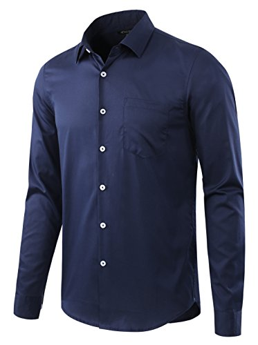 HETHCODE Mens Business Casual Slim-Fit Long-Sleeve Solid Dress Shirt