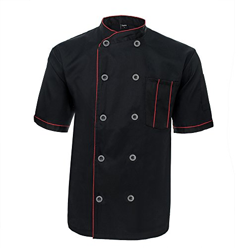 TopTie Unisex Short Sleeve Chef Coat Jacket-Black with red-L (Coat Black Chef)