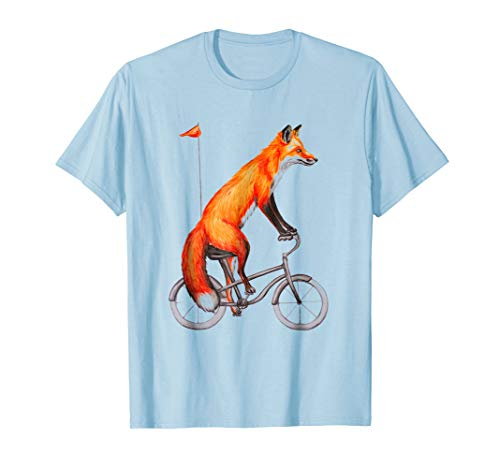 Fox on bicycle Funny Fox Shirt Cute Cycling Tee Gift by Fox