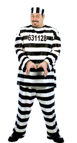 CONVICT COSTUME XLARGE (Plus Size Prisoner Costume)