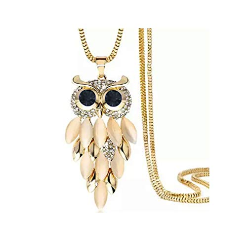 Nataliya Gold Owl Long Sweater Chain Crystal Pendant Necklace
