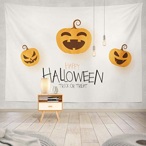 KJONG Halloween-Pumpkin Decorative Tapestry,Happy Halloween Greeting Card with Pumpkin Banner Autumn 60X80 Inches Wall Hanging Tapestry for Bedroom Living Room -
