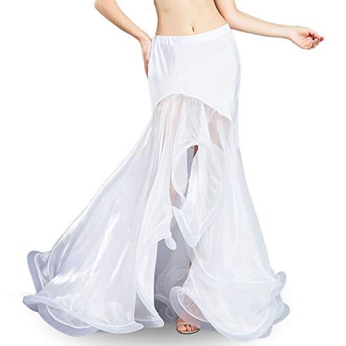 ROYAL SMEELA Belly Dance Costume Women Belly Dancing Skirts Chiffon Fishtail Ruffle Mermaid Skirt Dance Outfits One Size Belly Dance Mermaid Skirt