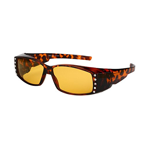 Womens Fit Over Glasses Polarized Night Driving Rhinestone Sunglasses (Tortoise, - Sunglasses Your At Wear Night