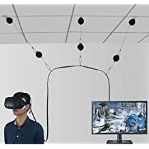 MDW NEW Version Retractable Cable Management System for HTC VIVE Virtual Reality Headset- No More Worries about the Wire,Moving freely in the VR game-3M Adhesive Drill Free (Type H)