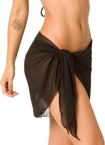 Coqueta Women#039s Beach Cover up Sarong wrap Mesh Swimsuit Skirts Coverup Swimwear Black