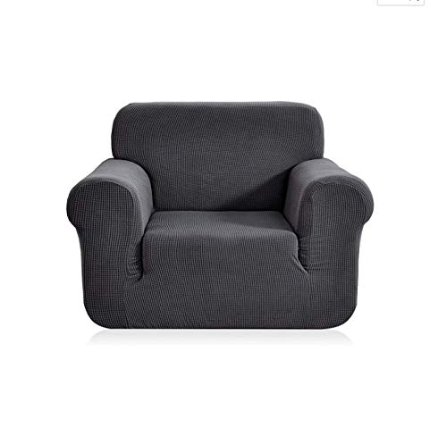 Sancua Chair Cover 1-Piece Durable Soft Stretch Slip Resistant Jacquard Fabric Couch Slip Cover Furniture Protector with Anti-Slip Foam Armchair Slipcover for Living Room (Armchair, Dark Gray)