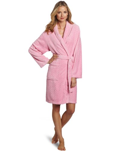 Seven Apparel Hotel Spa Collection Herringbone Textured Plush Robe, Bright Pink - 00179