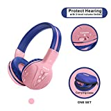 Bluetooth Kids Headphones Volume Limiting, Kids Safe Headphones with Sharing Jack, Wireless Headphones for Kids, Bluetooth Kids Headsets for iPad/iPhone/Kindle/Tablets/Car and Gift for Girls (Pink)