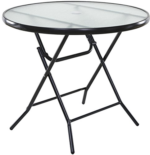 Cheap OneSpace Basics 34″ Round Folding Patio Table, Clear