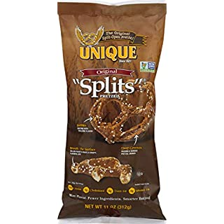 Unique Pretzels - Original Splits Pretzels, Delicious Vegan Snack Pretzels Individual Pack, Large OU Kosher Pretzels, 11 Ounce Bag, 1 Pack