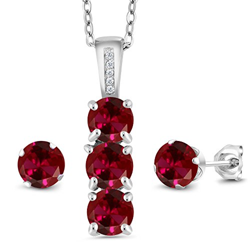 Gem Stone King 3.04 Ct Red Created Ruby White Diamond 925 Sterling Silver Pendant Earrings Set