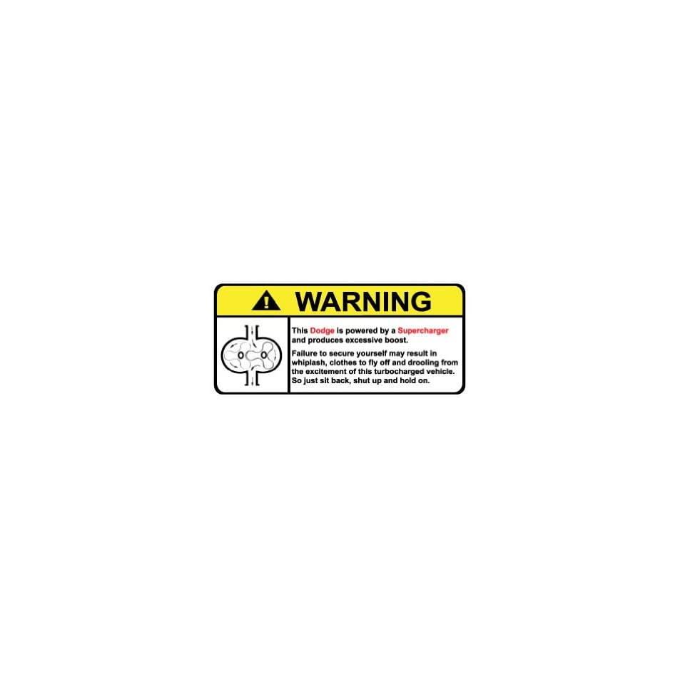 Dodge Warning Supercharger, Warning decal, sticker