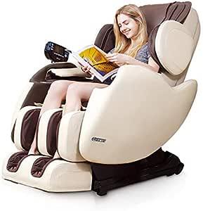 R Rothania Ospirit New Electric Full Body Shiatsu Massage Chair Recliner Straight I Track 3yr Warranty (Beige)