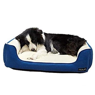 ANWA Dog Bed Machine Washable Rectangle Bed with Cozy Plush Large Breeds