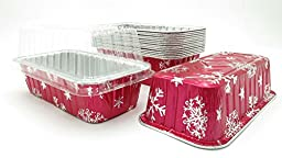 Disposable Aluminum Holiday 2 lb. Loaf Pans with Clear Snap on Lid #9401X (25)