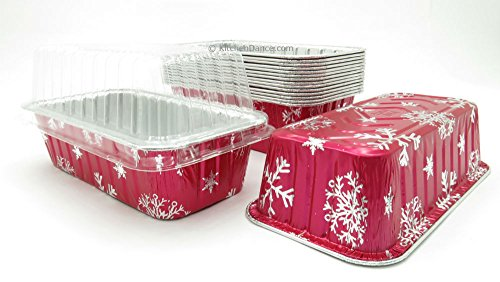 Disposable Aluminum Holiday 2 lb. Loaf Pans with Clear Snap on Lid #9401X (100)