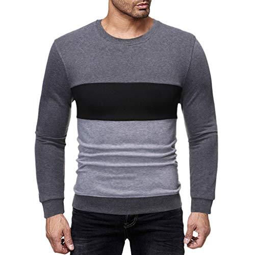 Men's Autumn Winter Slim-Fit Long Sleeve Sweatshirt Patchwork Tops Henley Shirt Dark Gray (Good Land Henley Shirt)