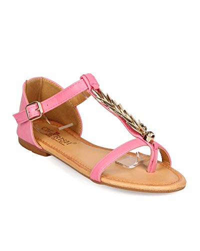 Thong Pink Cherish Flat T Sandal ED52 Palm Strap Women Leatherette OOfYBq