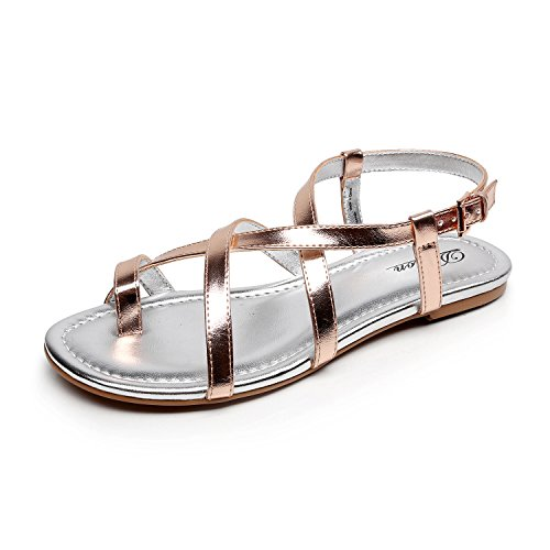 DUNION Women's Abrief Rhinestones Strappy Gold Flat Sandal Summer Silver Prom Wedding Shoes,Rose Gold,7.5 B(M) US ()