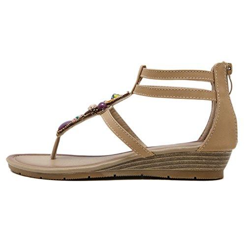 AdeeSu Studded Womens Apricot Sandals Hiking Fashion SLC04005 Urethane UqpCxUw