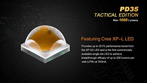Ultimate Bundle: Fenix PD35TAC (PD35 Tactical) 1000 Lumens Cree XP-L Flashlight, 2x Fenix 3500mAh 18650 Batteries, Smart Charger, LumenTac Battery Organizer by Fenix (Image #2)