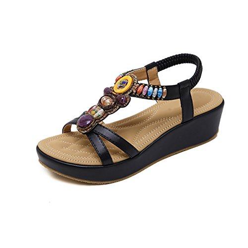 Bohemian Cale Noir De Women Des D'été Sandales Ruiren Beeded Dames Pour Chaussures EnHUYqg