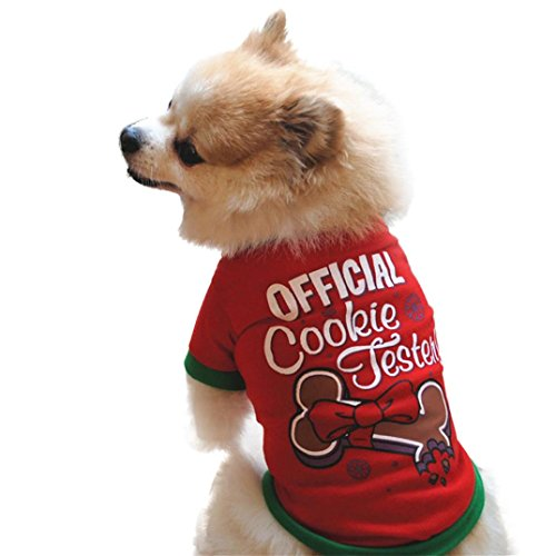 Hattfart Puppy Christmas Clothes for Dogs Teacup Pet Costume Sweater Clothing Girl Boy (XS)