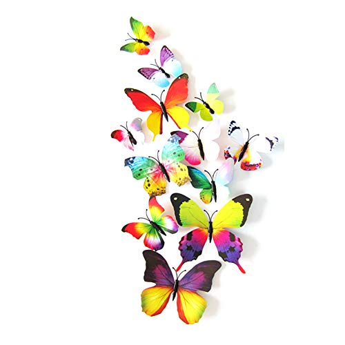 JYPHM 24PCS Butterfly Wall Decal Removable Refrigerator Magnets Mural Stickers 3D Wall Stickers for Kids Home Room Nursery Decoration Wall Art Rainbow ()