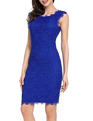 Acevog Women's Elegant Floral Lace Sleeveless 3/4 Sleeve Party Bodycon Dress